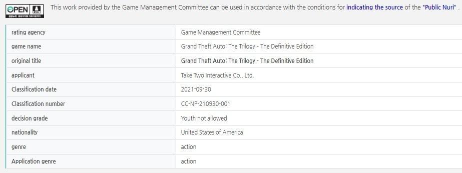 Ремастер трилогии Grand Theft Auto получил рейтинг в Корее 1