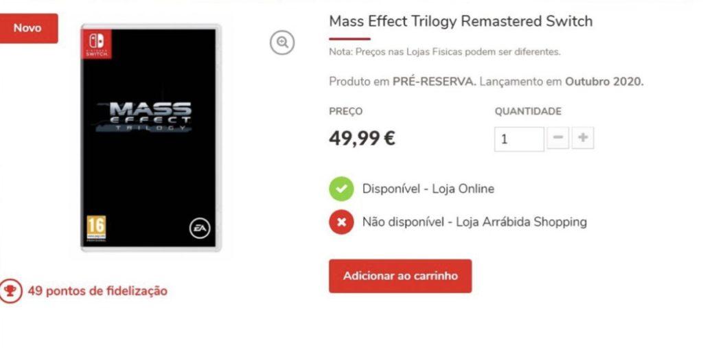 На сайте португальского ритейлера появился предзаказ Mass Effect Trilogy Remastered для Nintendo Switch 1